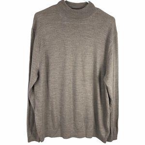 Turnbury merino wool sweater taupe mock neck men's